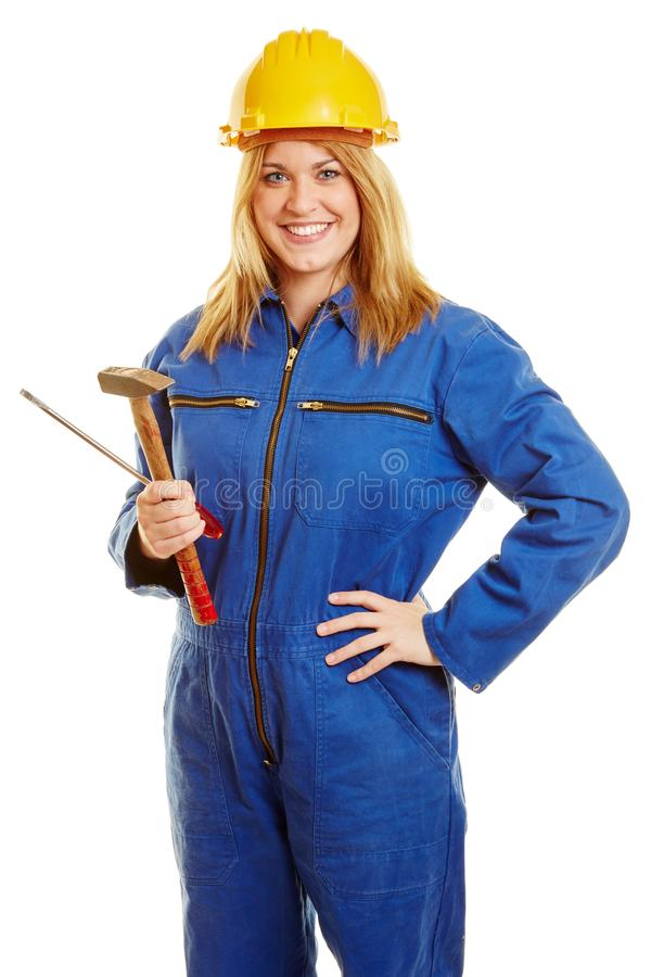 Woman as a blue collar worker stock images