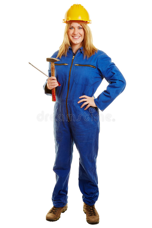 Woman as a construction worker stock photography