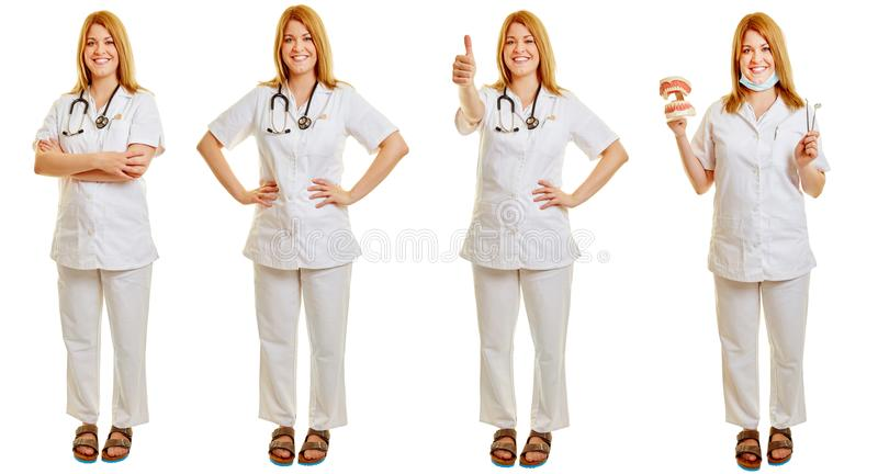 Woman as a doctor or dentist in different poses royalty free stock images