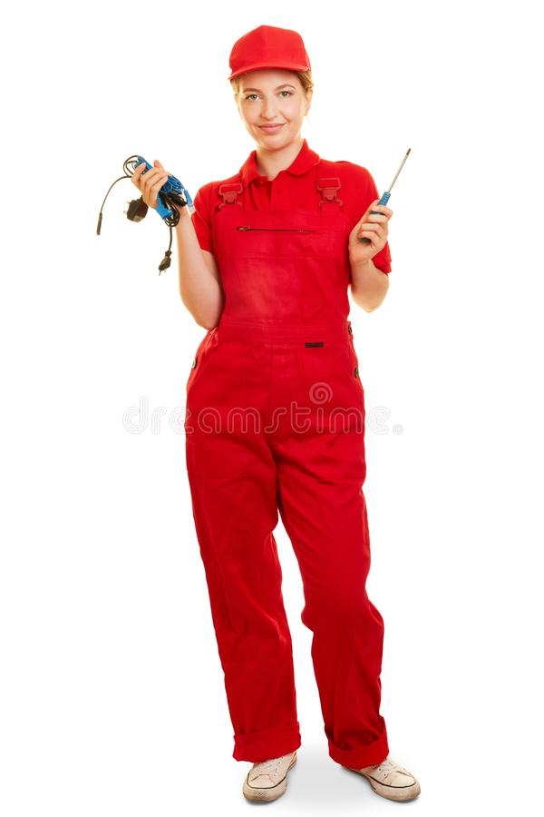 Woman as an electrician or electrician royalty free stock photo