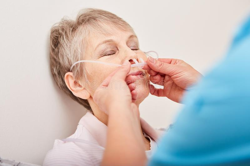 Woman as patient with nasogastric probe. As oxygen therapy stock photo