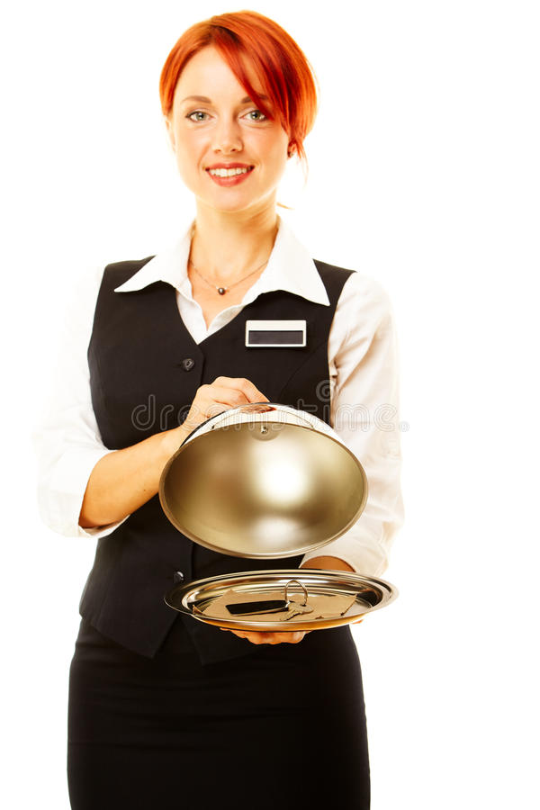 Woman as restaurant waitress. Is holding a winch with key inside stock photo