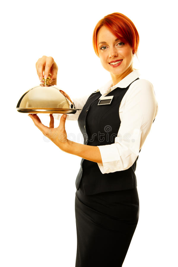 Woman as restaurant waitress. Is holding a winch with key inside royalty free stock photo