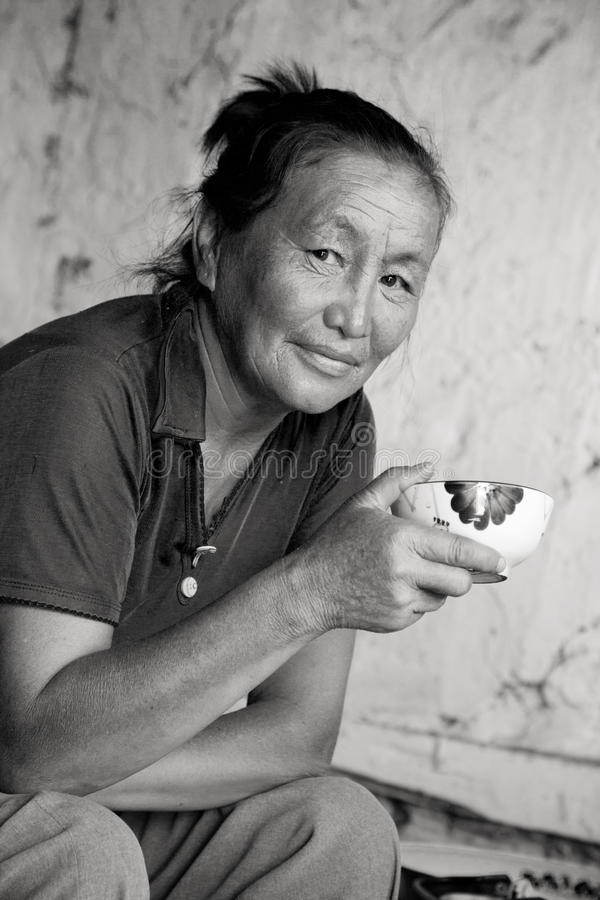Download A Woman Of Asian Appearance Drinking Tea Stock Image - Image: 15453697