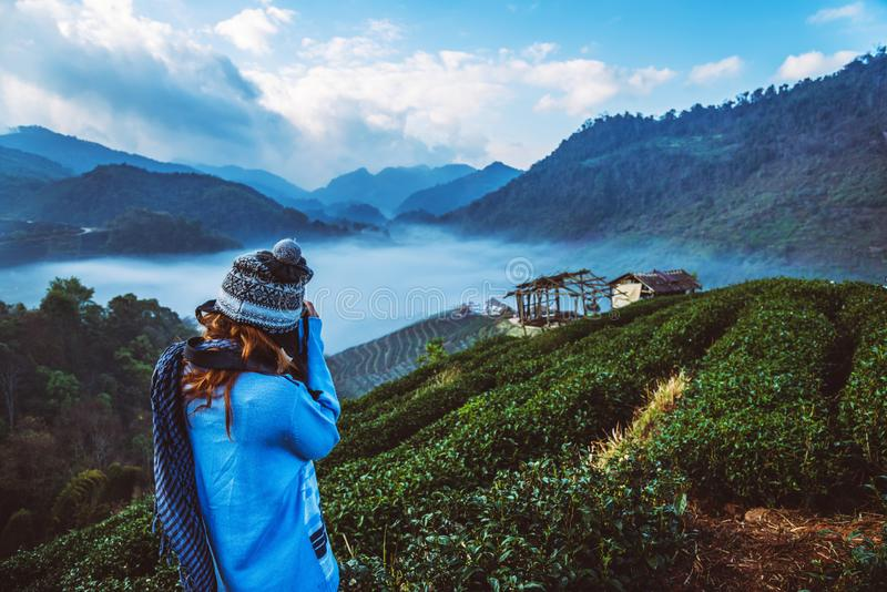 Woman asian travel nature. Travel relax. Photograph natural park on the Moutain. Thailand. Woman asian travel nature. Travel relax. Photograph natural park on stock images