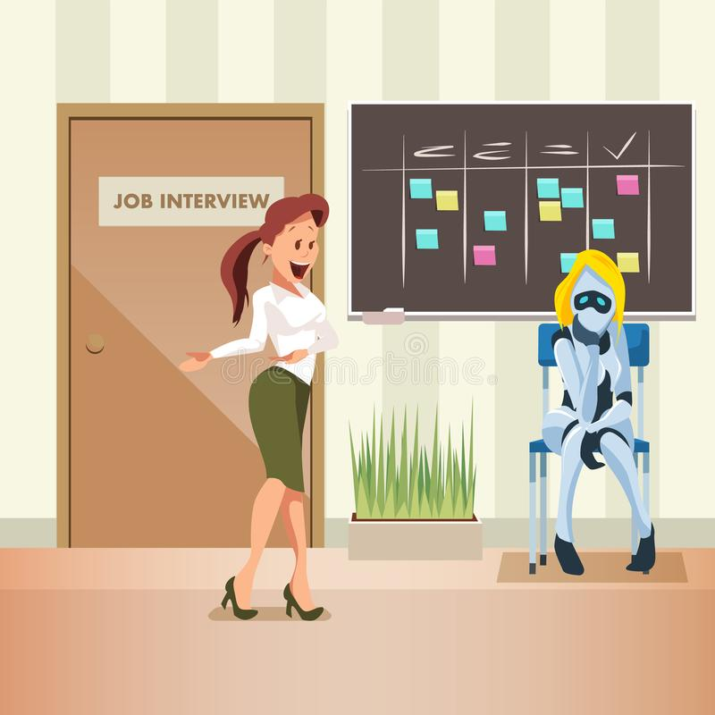 Woman Ask Female Robot to Office Job Interview vector illustration