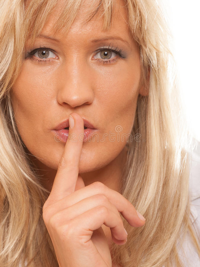 Free Woman Asking For Silence Finger On Lips Hush Gesture. Stock Image - 44375881