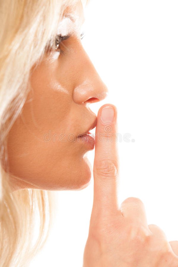 Free Woman Asking For Silence Finger On Lips Hush Gesture. Stock Images - 44857264