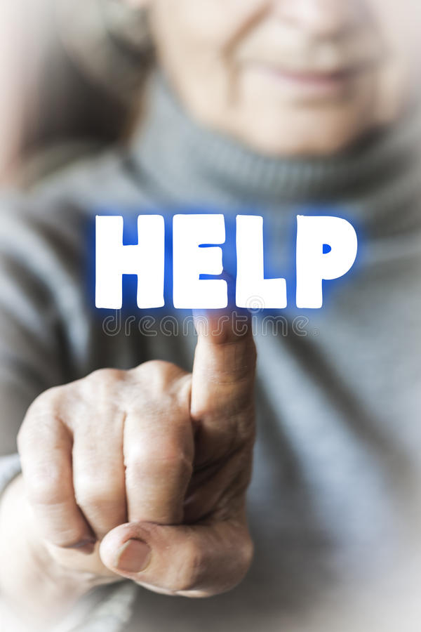 Woman is asking for help stock image