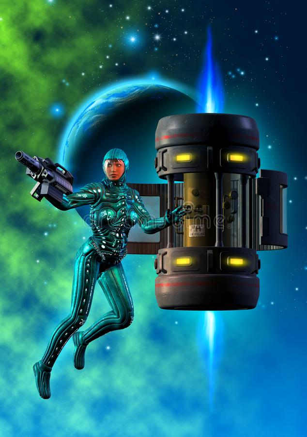 Woman astronaut defending a satellite, 3d illustration. Woman astronaut defending a satellite under attack, 3d illustration, in the background a planet and royalty free illustration