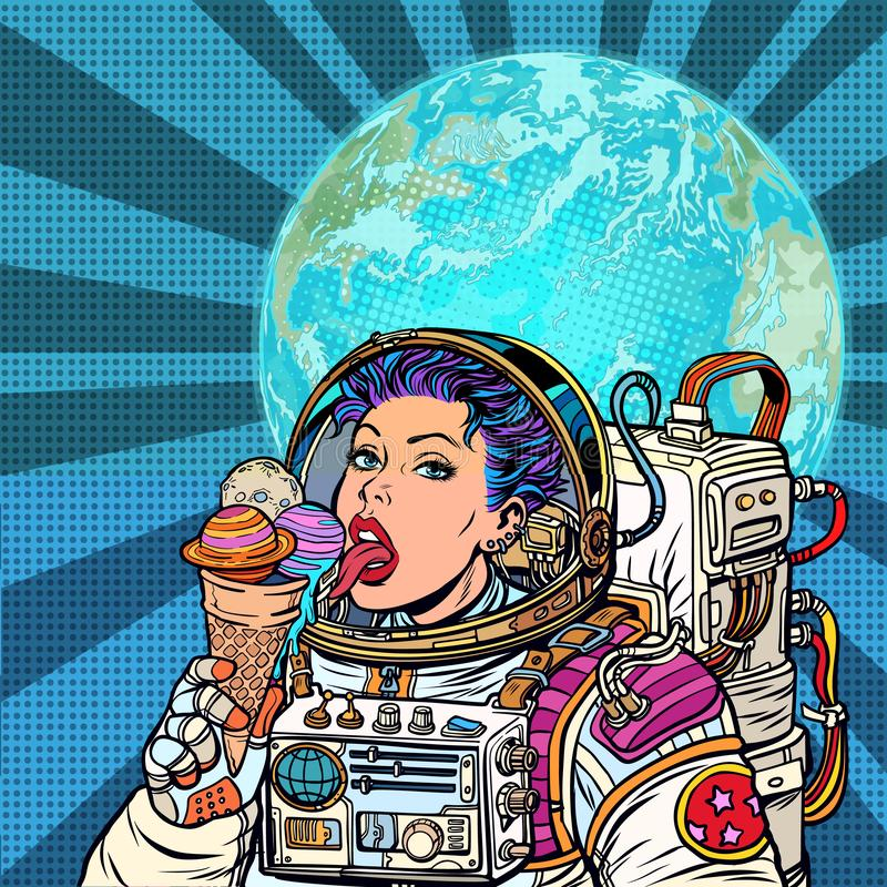 Woman astronaut eats planets of the solar system, like ice cream. Humanity and cosmic dreams concept. Pop art retro vector illustration vintage kitsch stock illustration