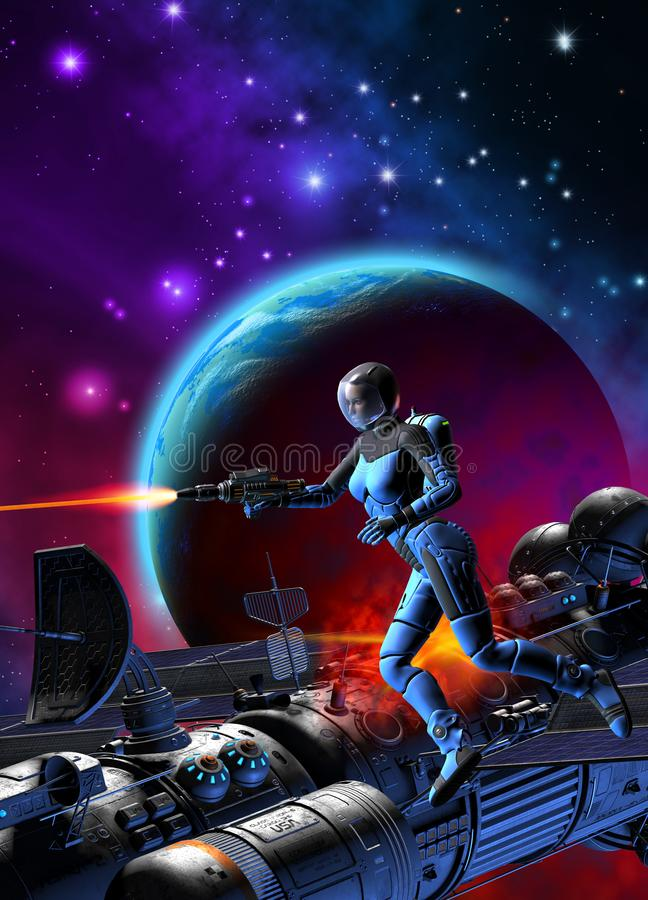Woman astronaut is fighting near a spaceship under attack, 3d ilustration stock illustration