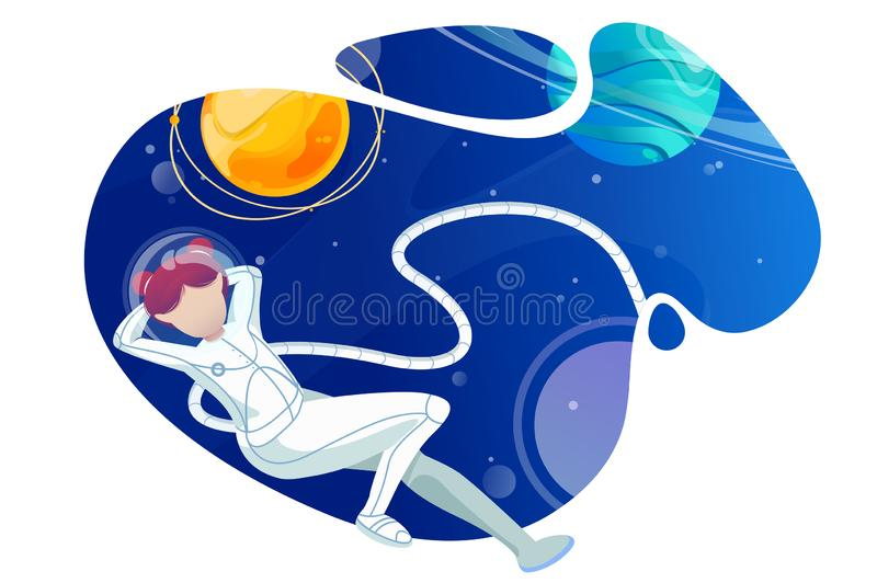 Woman astronaut relaxes in space. vector illustration