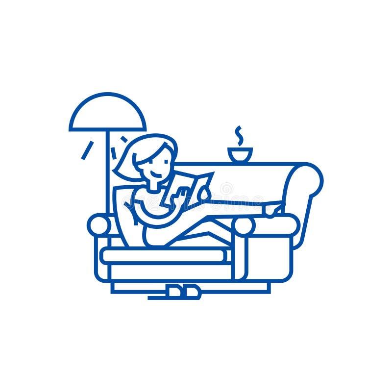 Free Woman At Home At Sofa Reading Book Line Icon Concept. Woman At Home At Sofa Reading Book Flat Vector Symbol, Sign Stock Image - 143124651