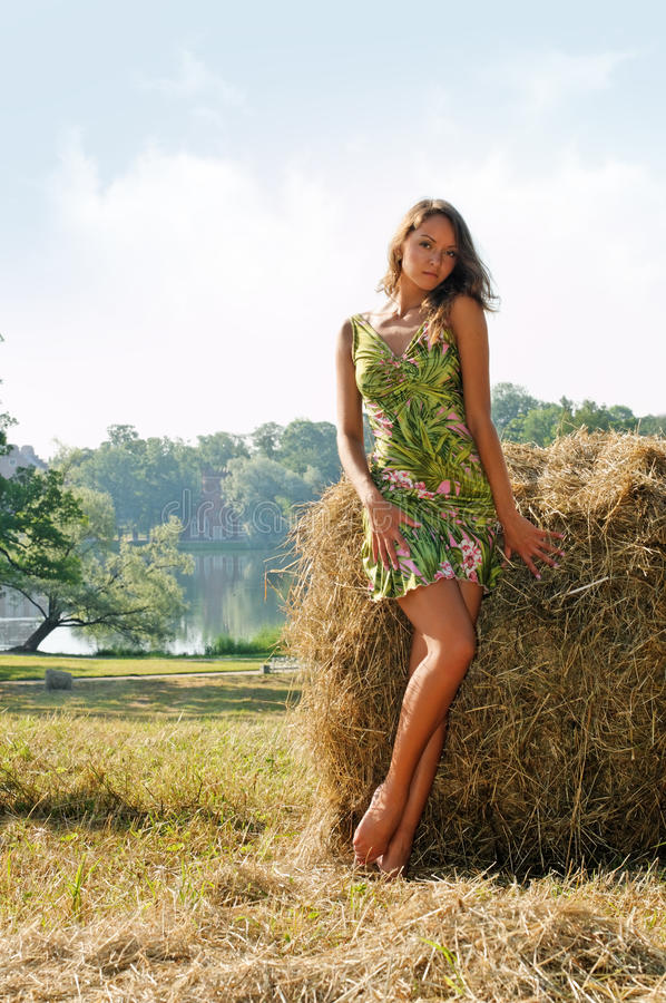 Free Woman At The Haystack Stock Images - 15963164