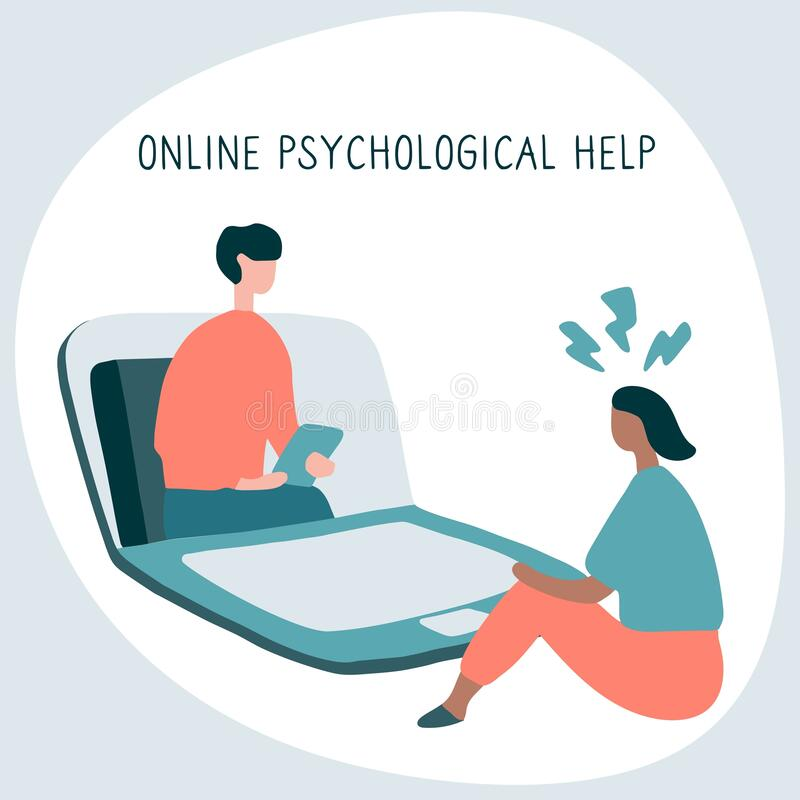 Free Woman At The Psychologist Online Session. Doctor Consultation By Phone. Video Call To Psychiatrist. Online Psychological Therapy. Stock Photography - 188717322