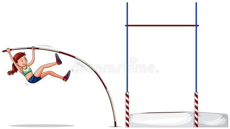 Woman athlete doing high jump stock illustration