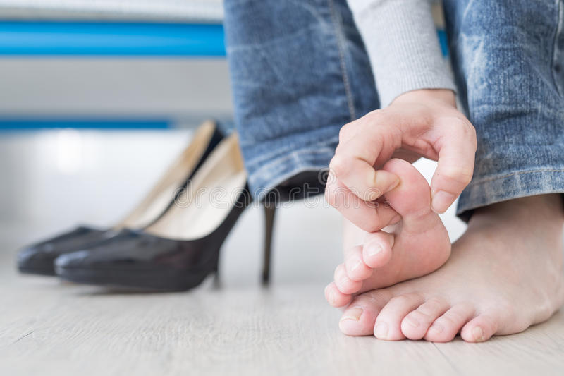 Woman athlete foot royalty free stock photos