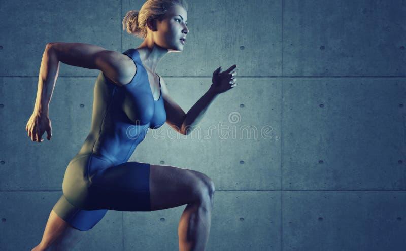 Woman athlete running vector illustration