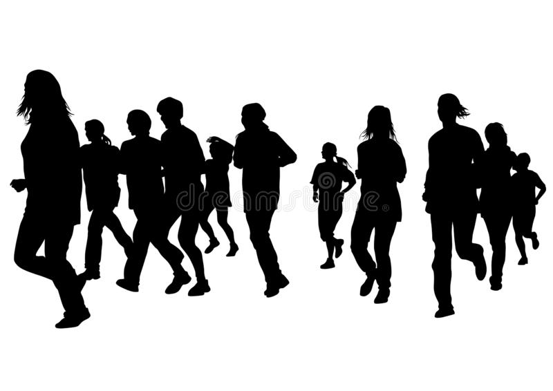 Running girl five. Woman athletes on running race on white background stock illustration