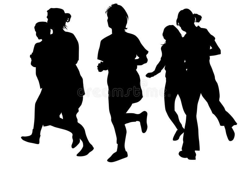 Running girl four. Woman athletes on running race on white background vector illustration