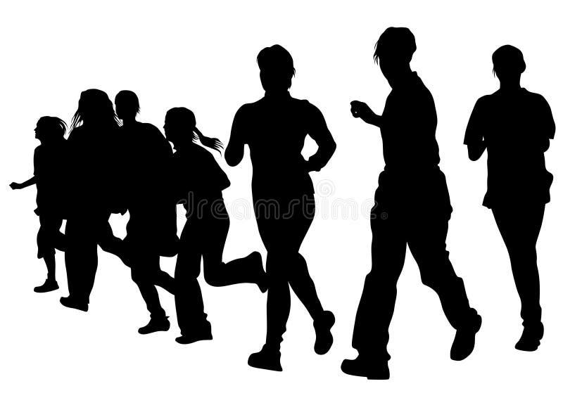 Running girl seven. Woman athletes on running race on white background royalty free illustration