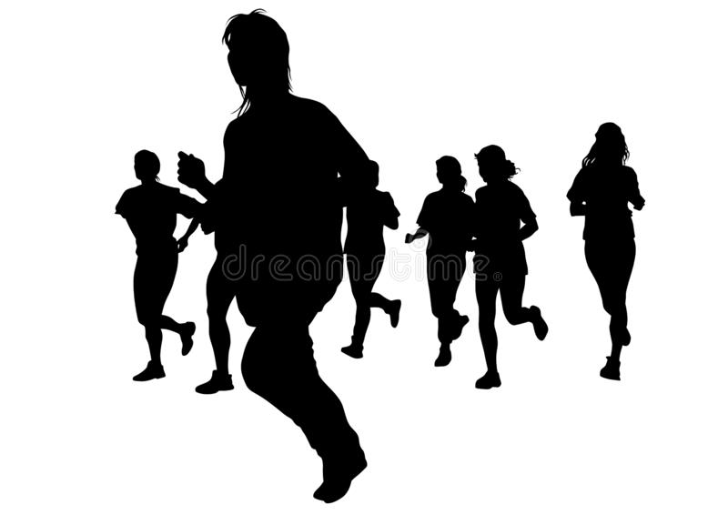 Running girl six. Woman athletes on running race on white background stock illustration