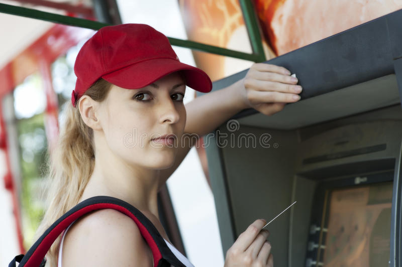Download Woman and ATM machine stock photo. Image of debit, money - 25526800