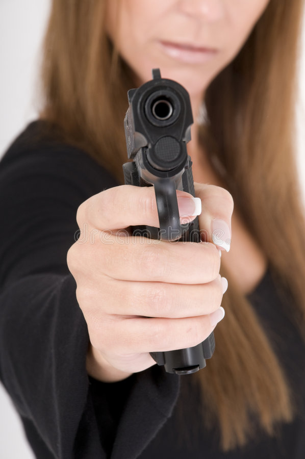 Download Woman Attacks With A Pistole Stock Images - Image: 9158874