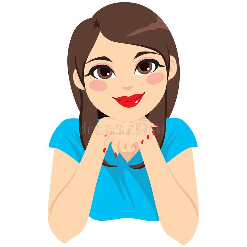 Woman Attending Listening. Beautiful brunette young woman with head on hands attending and thinking vector illustration