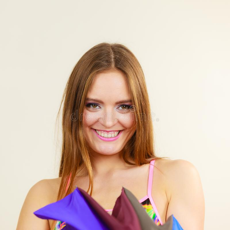 Woman summer girl opening colorful umbrella stock photography