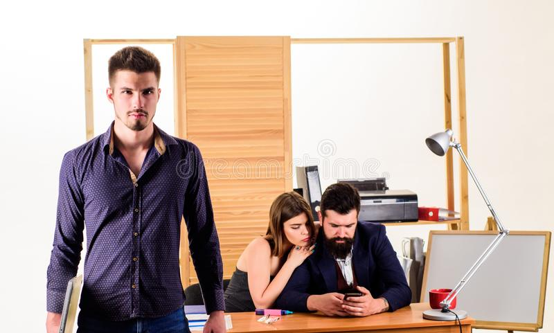 Woman attractive working with men. Office collective concept. Sexual attraction. Stimulate sexual desire. Sexual royalty free stock photo
