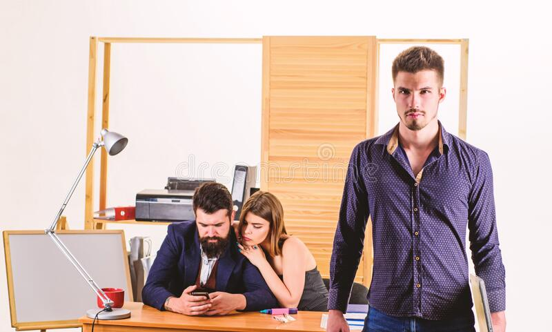 Woman attractive working with men. Office collective concept. Sexual attraction. Stimulate sexual desire. Sexual stock photo