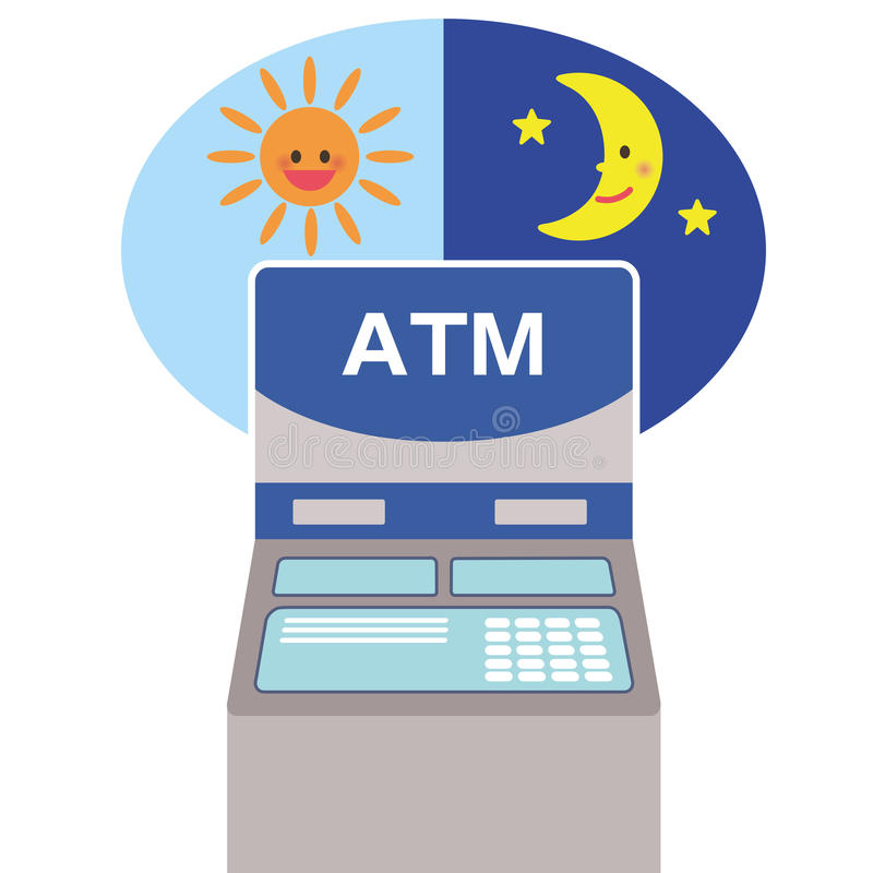 Woman and automated-teller machine vector illustration