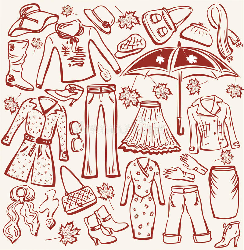 Woman autumn clothes and accesso royalty free illustration