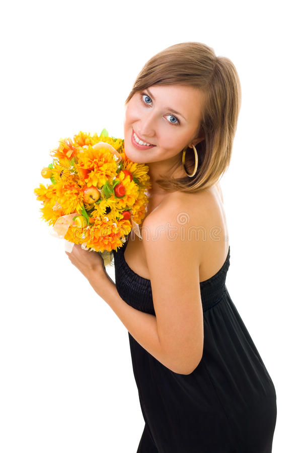 Download Woman and autumn flowers stock photo. Image of gold, bouquet - 10080940