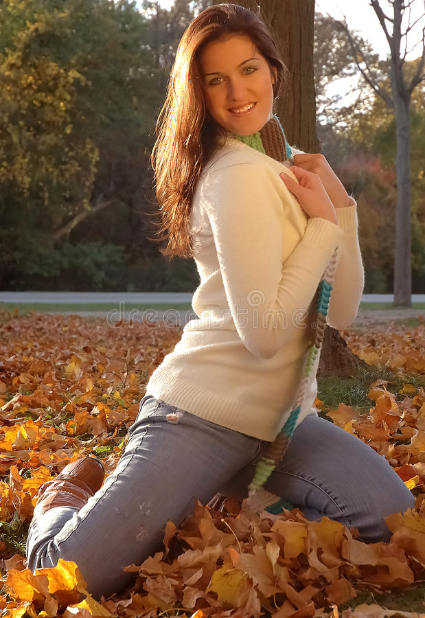 Download Woman in autumn park stock image. Image of looking, jumper - 10822135