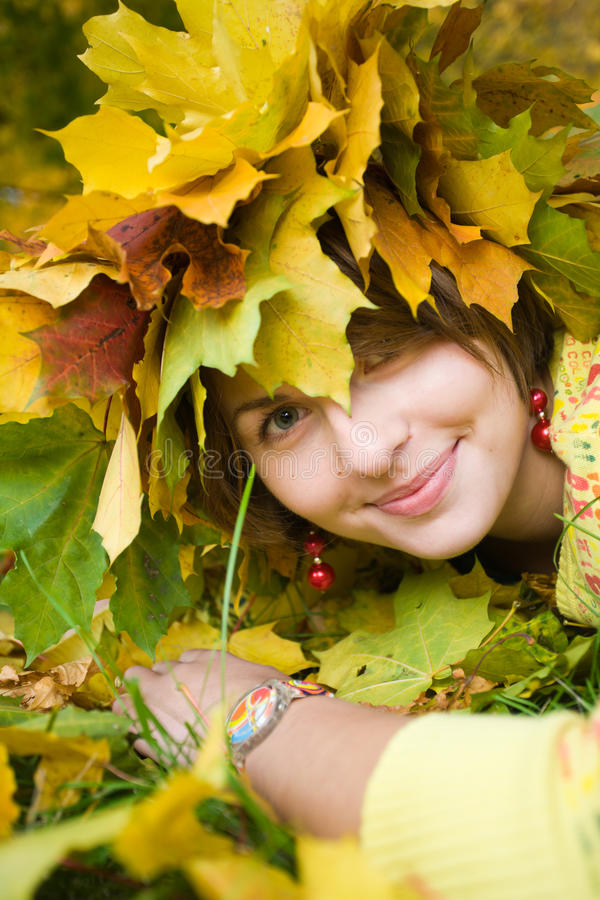 Woman in autumn park royalty free stock photo