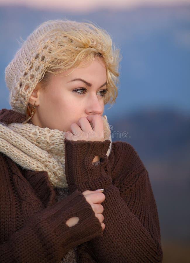 Download Woman at autumn sunset stock image. Image of season, alone - 22087717