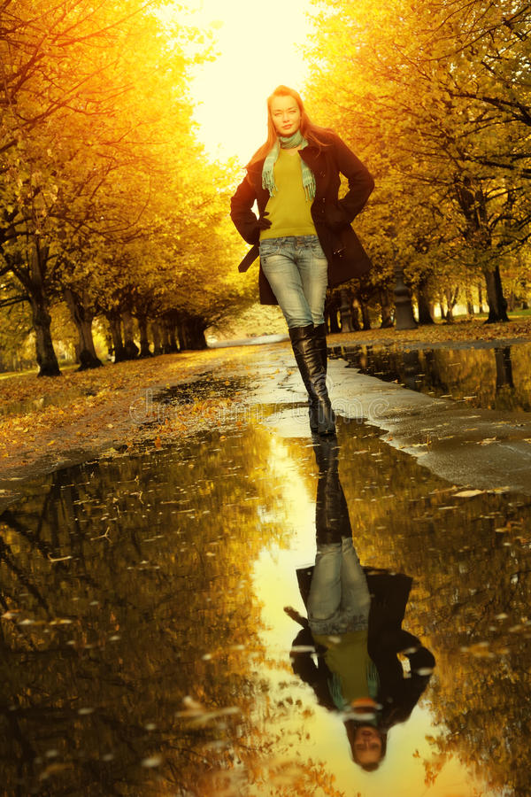 Download Woman at autumn walking stock image. Image of happy, model - 17217053