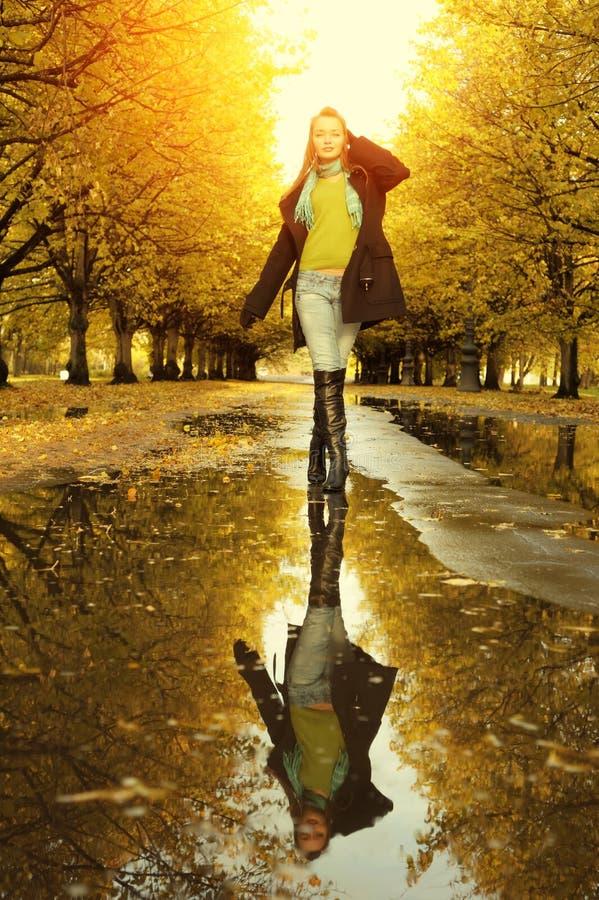 Download Woman at autumn walking stock image. Image of clothing - 18718673