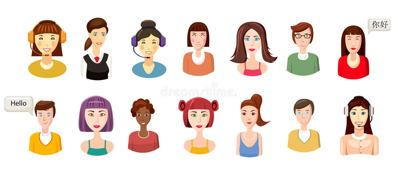 Woman avatar icon set, cartoon style vector illustration