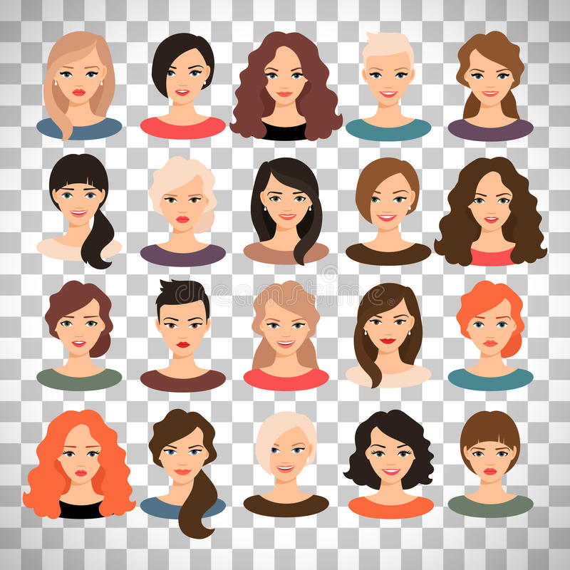 Crowd Of Indian Women Vector Avatars Stock Vector: Woman Avatar Set On Transparent Background Stock Vector