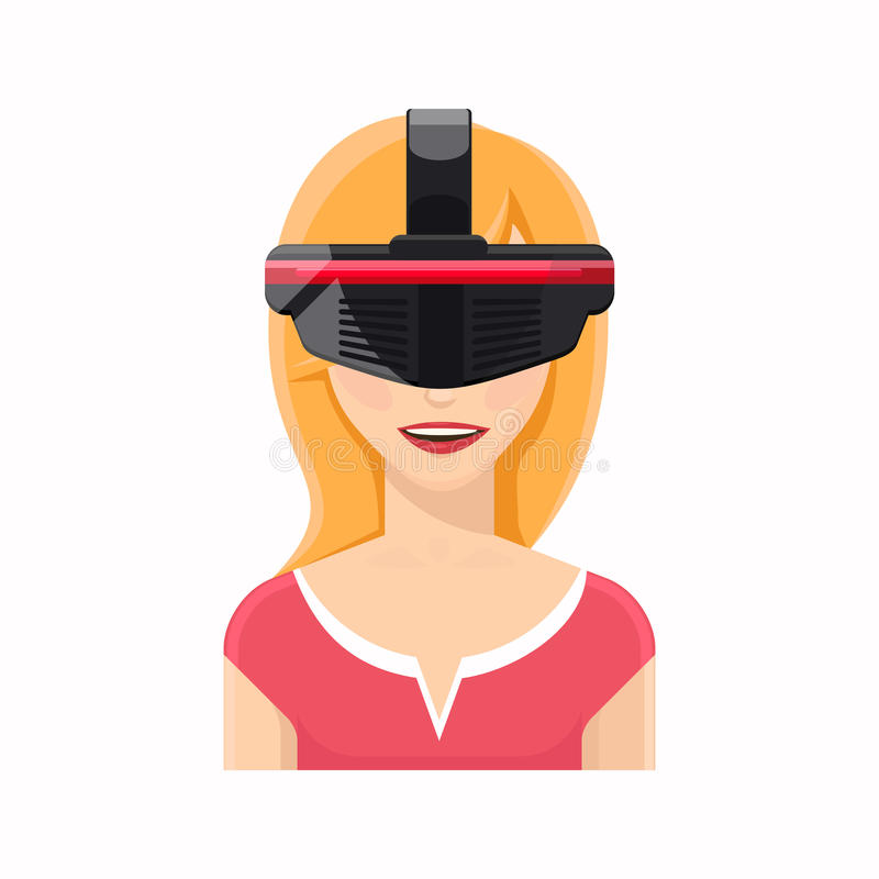 Woman avatar in virtual reality glasses vector illustration