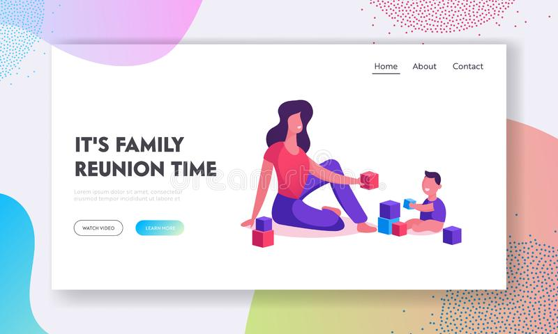 Woman and Baby Boy Gaming Website Landing Page. Happy Family of Mom and Kid Having Leisure Time. Mother and Little Son Playing. Toys. Loving Relation Web Page royalty free illustration