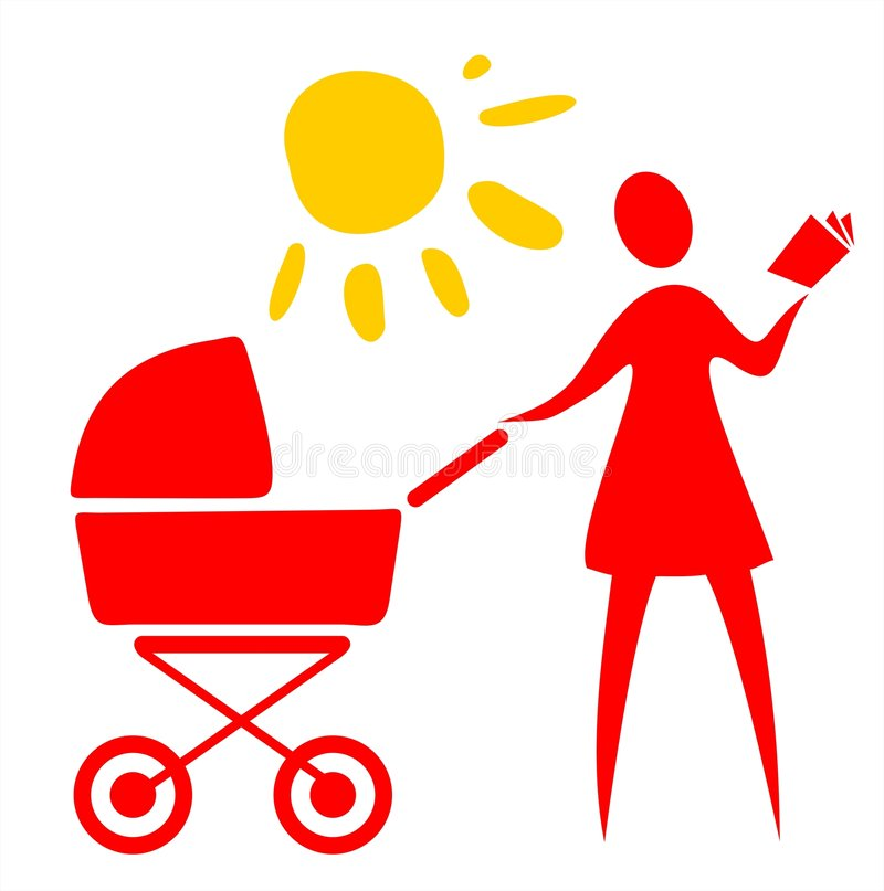 Download Woman and baby carriage stock vector. Image of cleanliness - 3084203