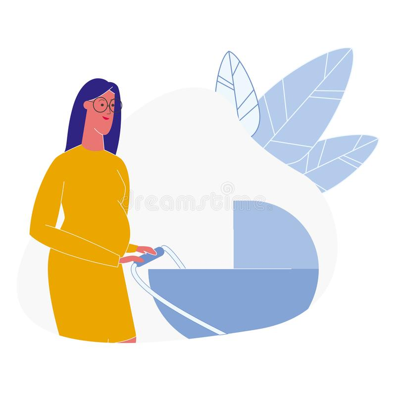 Woman with Baby Carriage Flat Vector Illustration vector illustration