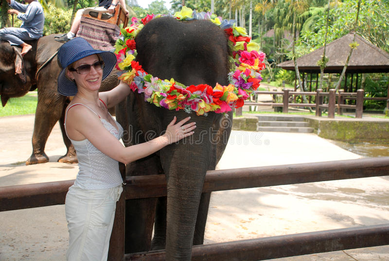 Woman and baby elephant royalty free stock photos