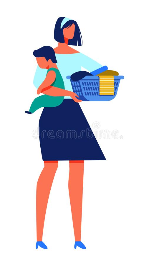 Woman with Baby in Hand Hold Basket with Laundry. Woman with Baby in Hands Holding Basket with Laundry. Training for Women. Vector Illustration. Mom in Home stock illustration