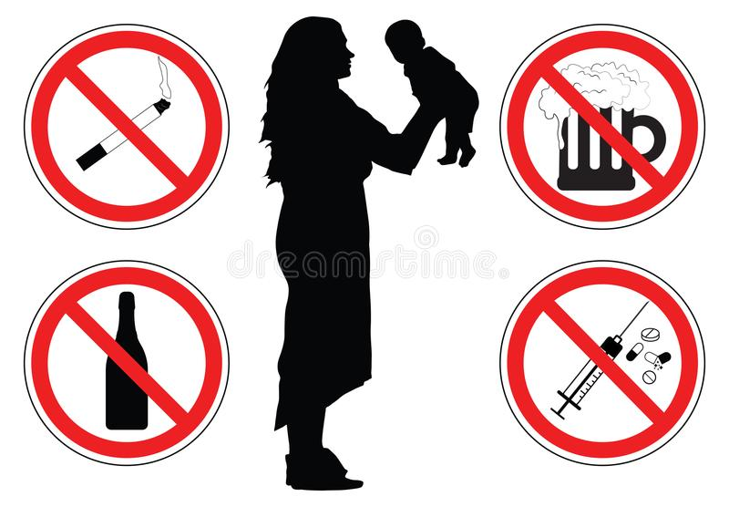 Woman with baby, silhouette, prohibition signs of drugs, vector. Woman with baby, silhouette, prohibition signs of drugs, vector stock illustration